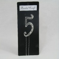 NU5  DIAMANTE NUMBER 'FIVE' CAKE TOPPER ON SILVER