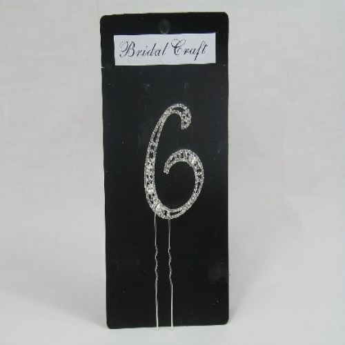 NU6  DIAMANTE NUMBER ' SIX' CAKE TOPPER IN SILVER