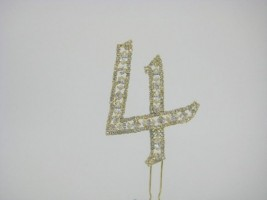 NUG4  DIAMANTE NUMBER 'FOUR' CAKE TOPPER IN GOLD