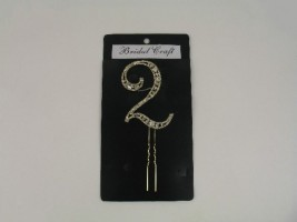 NUG2  DIAMANTE NUMBER 'TWO' CAKE TOPPER IN GOLD