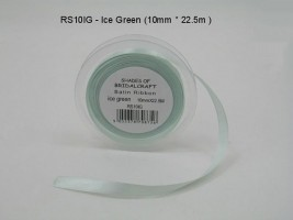 RS10IG   10 MM X 22.5 METRES SATIN RIBBON IN ICE GREEN- IF QUANTITY IS MORE THAN 10 ROLLS PAY 85P A ROLL