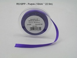 RS10PP  10 MM x 22.5 METRE SATIN RIBBON IN CADBURYS PURPLE- IF QUANTITY IS MORE THAN 10 PAY 85P A ROLL
