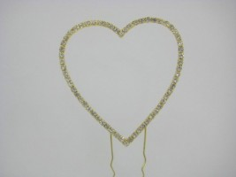 SR0005GL GOLD DIAMANTE HEART CAKE TOPPER
