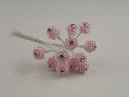 SR14DLP DIAMANTE RIBBON ROSES IN LIGHT PINK (BUNCH OF 12)
