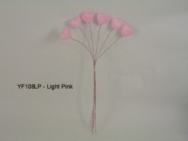 YF108LP SPARKLE HEART IN LIGHT PINK- BUY 12 BUNCHES PAY ONLY 75P A BUNCH