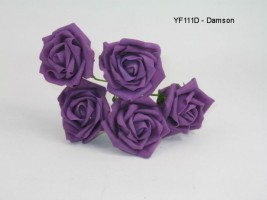 YF111D  OPEN ROSE IN DAMSON COLOURFAST FOAM- BUY 36 BUNCHES PAY 90P A BUNCH