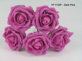 YF111DP  OPEN ROSE IN DARK PINK COLOURFAST FOAM BUY 36 BUNCHES PAY 90P A BUNCH