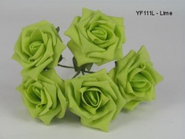 YF111L  OPEN ROSES IN LIME COLOURFAST FOAM- BUY 36 PAY 90P A BUNCH