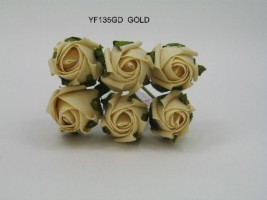 YF135GD  - 6 X 4cm Dia. Rose Bud in Gold  Colourfast Foam by Bridalcraft ( SPECIAL OFFER )