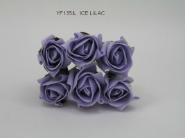 YF135IL  6 X 4cm Dia.Jubilee Rose Bud in Ice Lilac Colourfast Foam