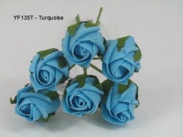YF135T  6 x 4cm Dia. Rose Bud in Turquoise Colourfast Foam