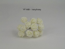 YF148II  MINI TEA ROSE IN ALL IVORY