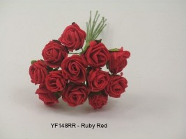 YF148RR  MINI TEA ROSE IN RUBY RED
