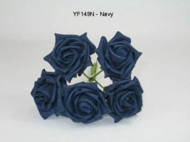 YF149N  OPEN ROSE IN NAVY COLOURFAST FOAM - BUY 36 BUNCHES AND PAY ONLY 90P A BUNCH