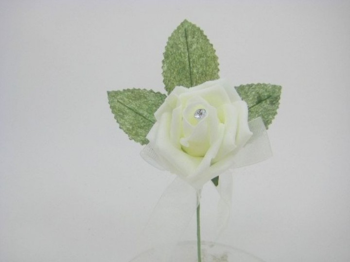 YF169LID  COTTAGE COLOURFAST IVORY ROSE BUTTONHOLE WITH DIAMANTE- NEW PRODUCT- BUY 24 BUTTONHOLES PAY ONLY 60P EACH