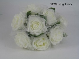 YF20LI  OPEN IVORY ROSES WITH IVORY GEORGETTE NETTING