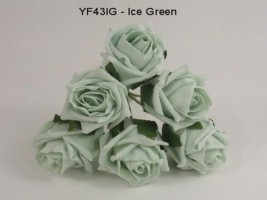 YF43IG  QUALITY COTTAGE ROSE IN ICE GREEN COLOURFAST FOAM- BUY 60 BUNCHES AND PAY £1.15 A BUNCH