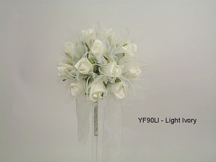 YF90LI  15CM Shimmer Sparkle Posy in Light Ivory Colourfast Foam Roses