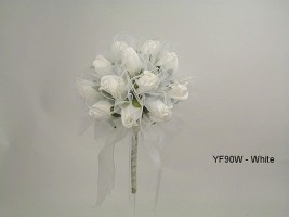 YF90W 15CM Shimmer Sparkle Posy in White Colourfast Foam Roses