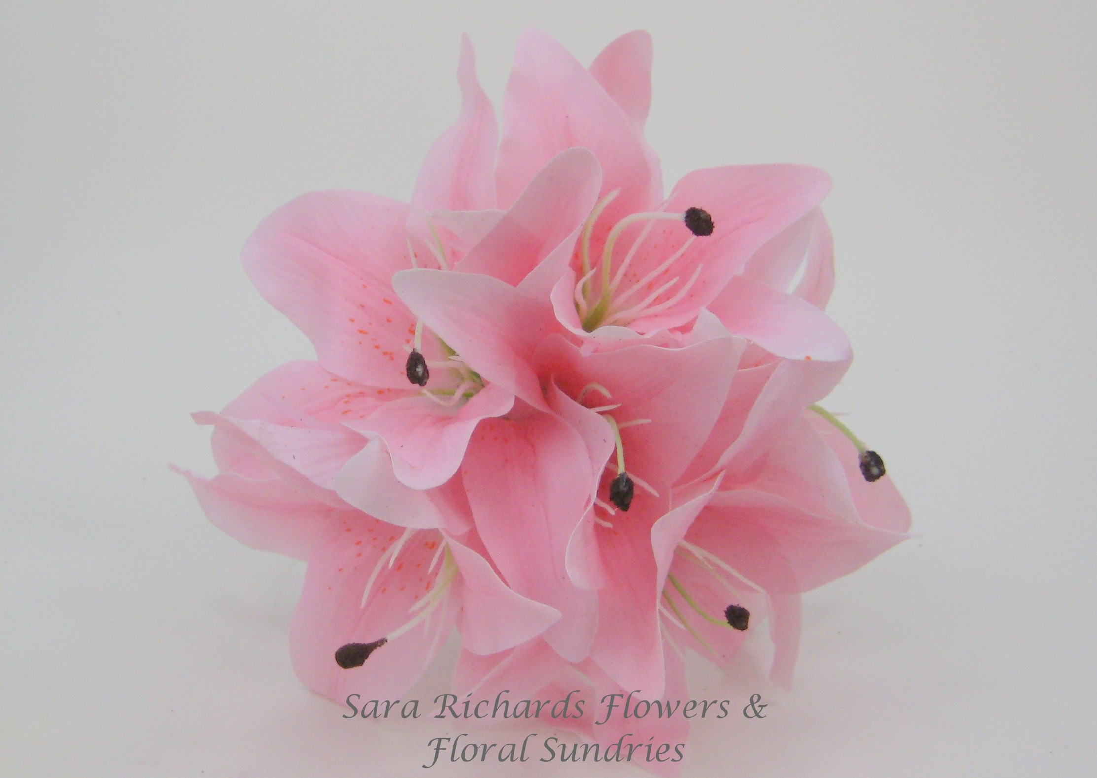 Bunch Of Six 14 Cm Real Touch Tiger Lilies In Light Pink Sara
