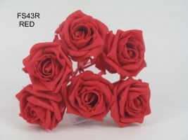 FS43R  6 x 6 CM COTTAGE ROSE IN ALL RED COLOURFAST FOAM
