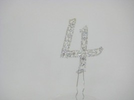 NU4  DIAMANTE NUMBER 'FOUR' CAKE TOPPER ON SILVER