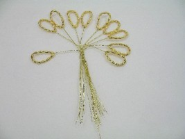 P100GR  BUNCH OF GOLD RICE PEARL LOOPS ON GOLD WIRE
