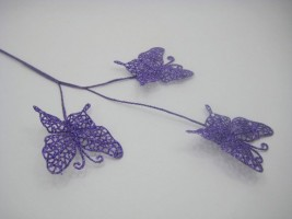 BRANCH OF THREE GLITTER BUTTERFLIES ON A LONG STEM IN PURPLE