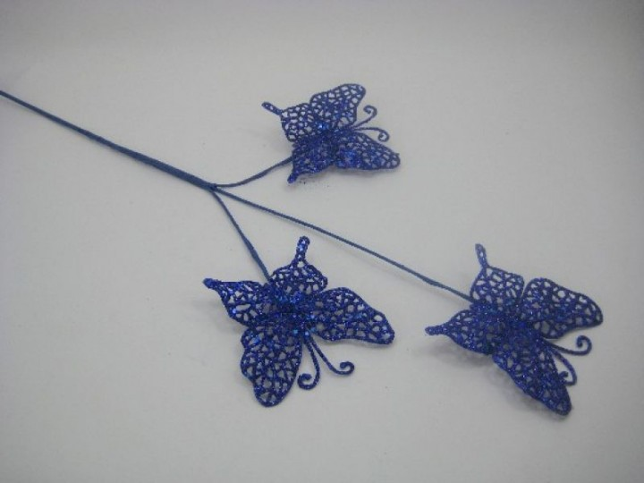 BRANCH OF THREE GLITTER BUTTERFLIES ON A LONG STEM IN ROYAL BLUE