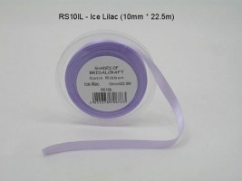 RS10IL  10 MM X 22.5 METRES SATIN RIBBON IN ICE LILAC- IF QUANTITY IS MORE THAN 10 ROLLS PAY 85P A ROLL