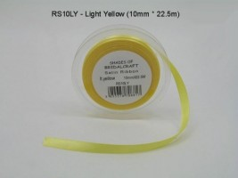 RS10LY  10 MM X 22.5 METRES SATIN RIBBON IN LIGHT YELLOW- IF QUANTITY IS MORE THAN 10 ROLLS PAY 85P A ROLL