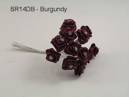 SR14DB DIAMANTE RIBBON ROSES IN BURGANDY (BUNCH OF 12)