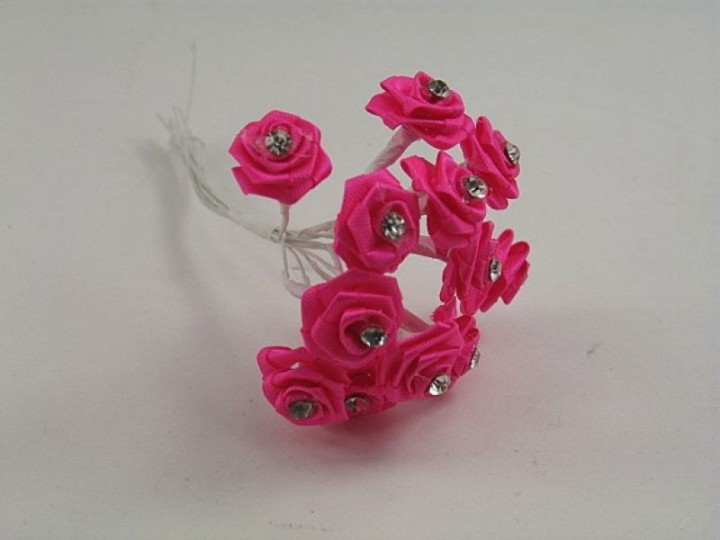 SR14DFU DIAMANTE RIBBON ROSES IN HOT PINK (BUNCH OF 12)