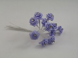 SR14DLL DIAMANTE RIBBON ROSES IN LILAC (BUNCH OF 12)