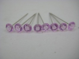 SR40PK -PINK DIAMANTE PINS 6 MM X 100