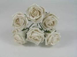 YF106W  6 X 6 CM OPEN ROSE IN WHITE PEARLISED COLOURFAST FOAM