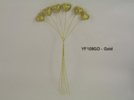YF108GD SPARKLE HEARTS IN GOLD- BUY 12 BUNCHES PAY ONLY 75P A BUNCH