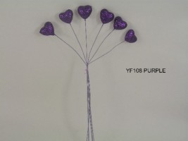 YF108PP SPARKLE HEARTS IN PURPLE- BUY 12 BUNCHES PAY ONLY 75P A BUNCH