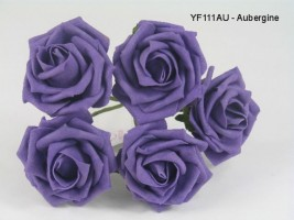 YF111AU  OPEN ROSE IN AUBERGINE COLOURFAST FOAM - BUY 36 BUNCHES PAY 90P A BUNCH