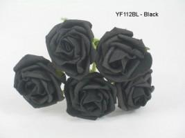 YF112BL  OPEN ROSES IN BLACK COLOURFAST FOAM