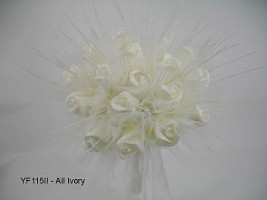 YF115II  Medium Shimmer Sparkle Posy in All Ivory-Special offer