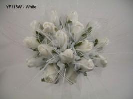 YF115W  Medium Shimmer Sparkle Posy in White