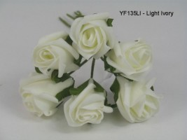 YF135LI  JUBILEE ROSE BUD IN LIGHT IVORY COLOURFAST FOAM