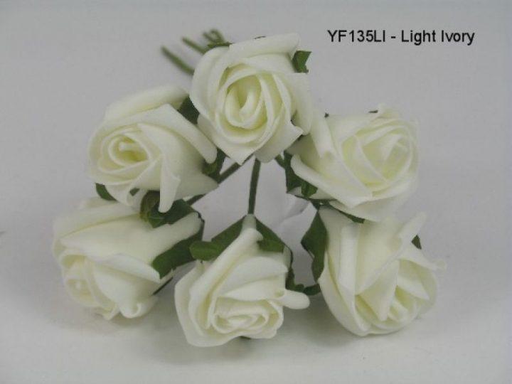 YF135LI  JUBILEE ROSE BUD IN LIGHT IVORY COLOURFAST FOAM