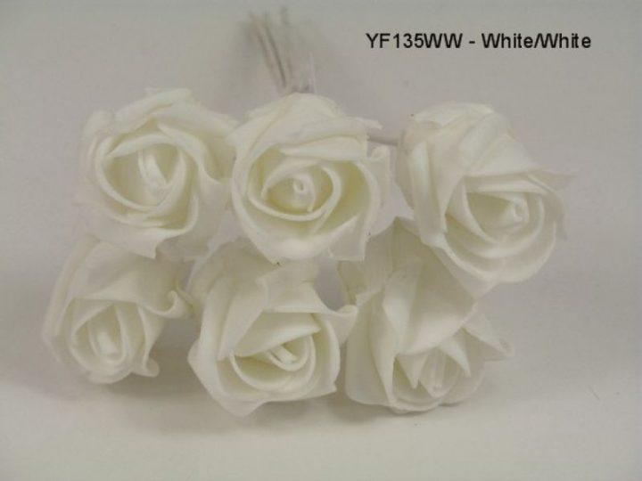 YF135WW  JUBILEE ROSEBUD  IN ALL WHITE COLOURFAST FOAM