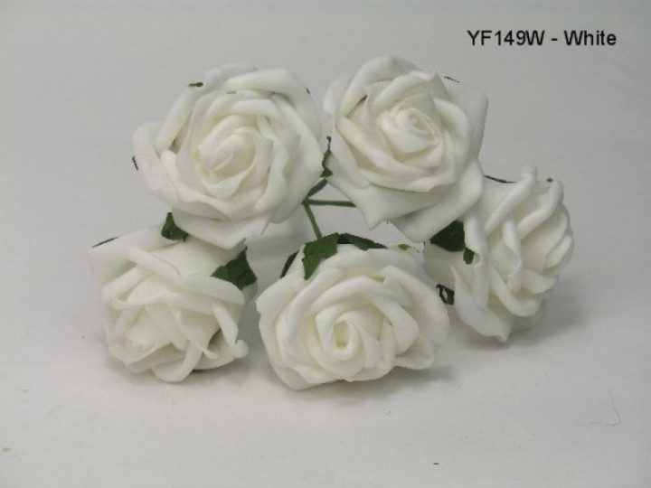 YF149W - 5 x 5 CM OPEN ROSE IN WHITE COLOURFAST FOAM - BUY 36 BUNCHES PAY ONLY 90P A BUNCH