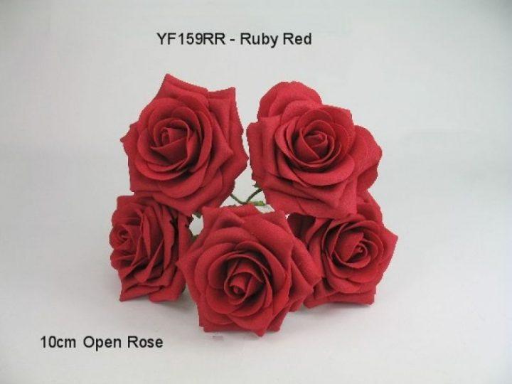 YF159RR  OPEN ROSE IN RUBY RED COLOURFAST FOAM