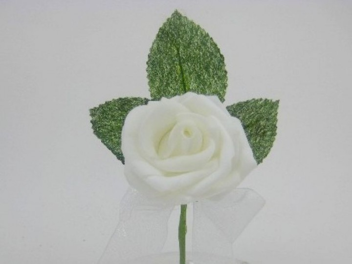 YF169W  COTTAGE ROSE BUTTONHOLE/CORSAGE IN WHITE COLOURFAST FOAM- BUY 24 PCS PAY ONLY 50P EACH