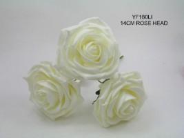 YF180LI  LARGE OPEN ROSE IN IVORY COLOURFAST FOAM