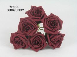 YF43B - QUALITY COTTAGE ROSE IN BURGANDY COLOURFAST FOAM